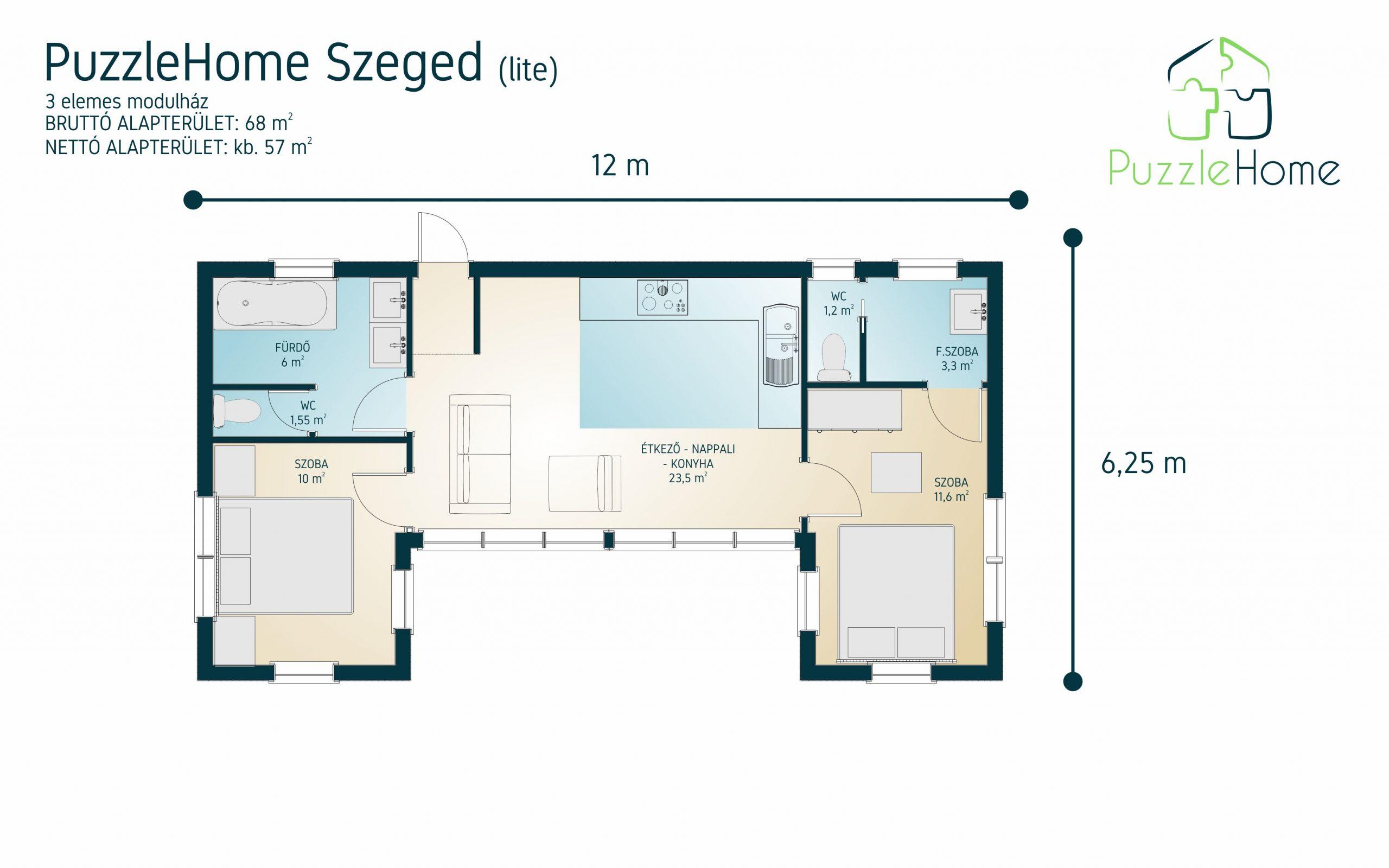 PuzzleHome Szeged Lite típusterv alaprajz