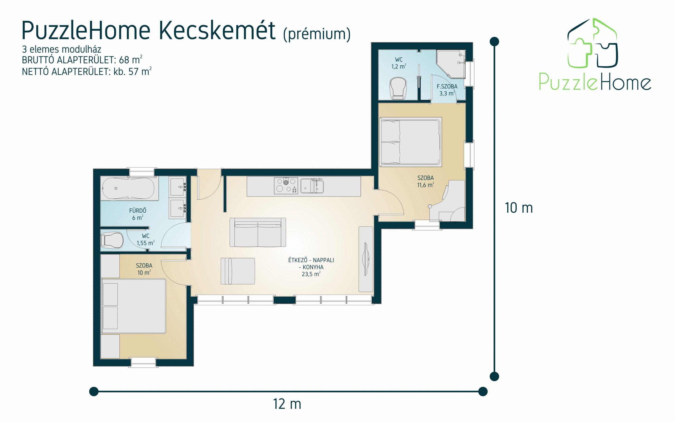 Kecskemét PuzzleHome Prémium magastetős ház alaprajza