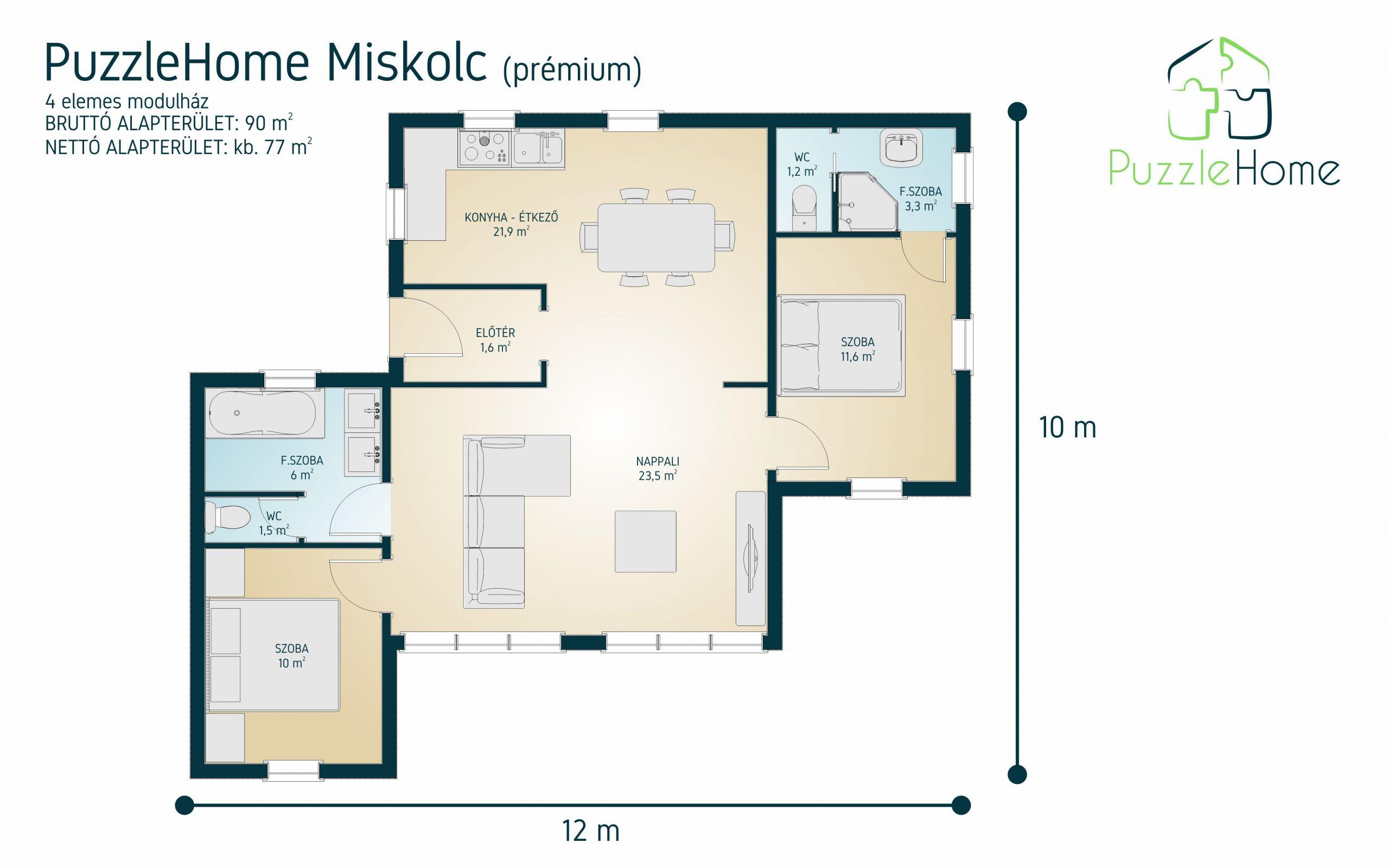 PuzzleHome Miskolc minimál stílusú családi ház típusterv alaprajza