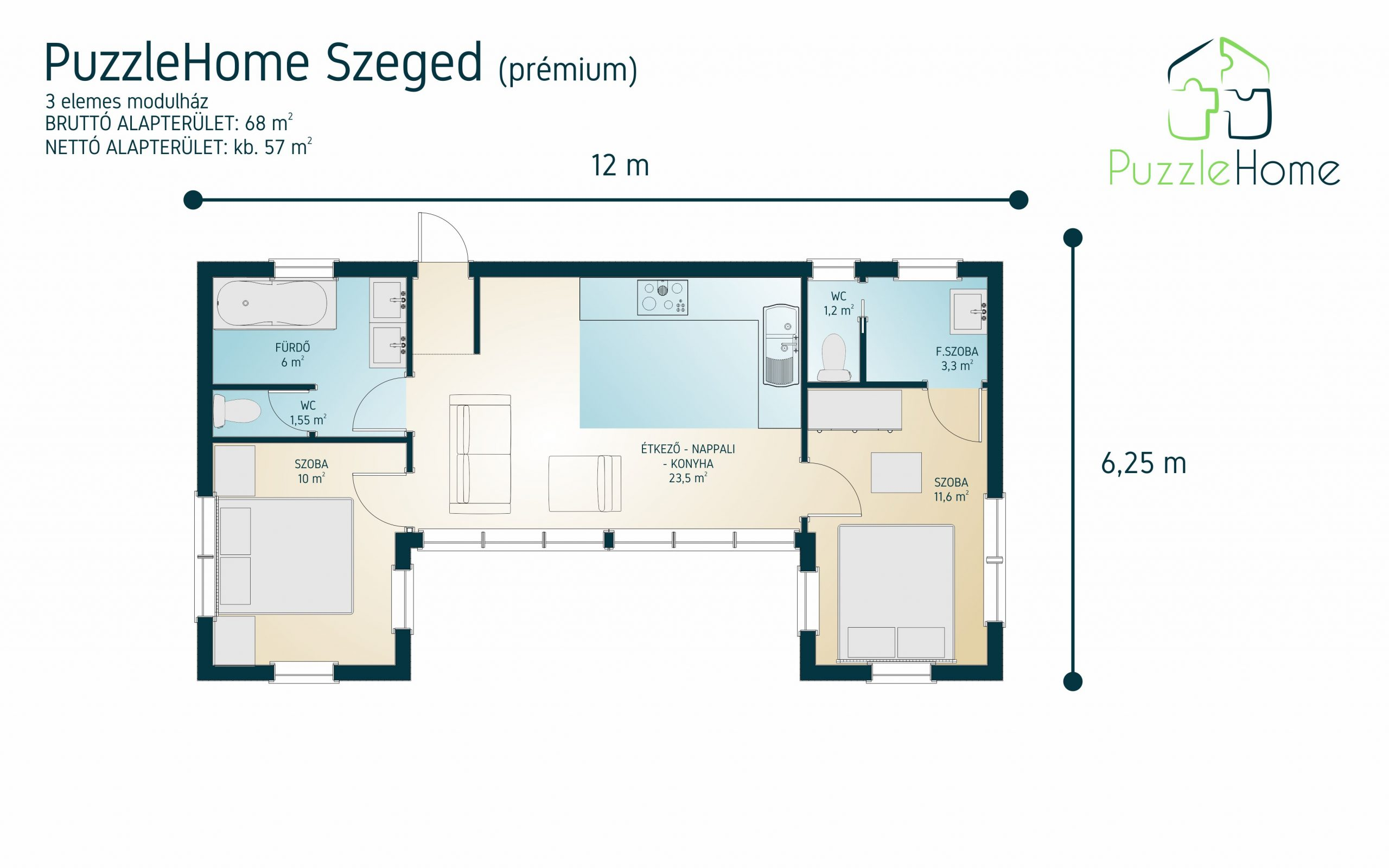 PuzzleHome Szeged típusterv alaprajza