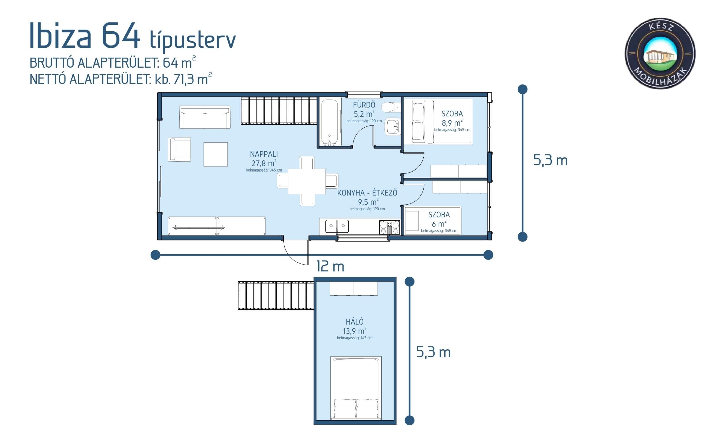 Ibiza 64 m²-es modul mobilház alaprajza